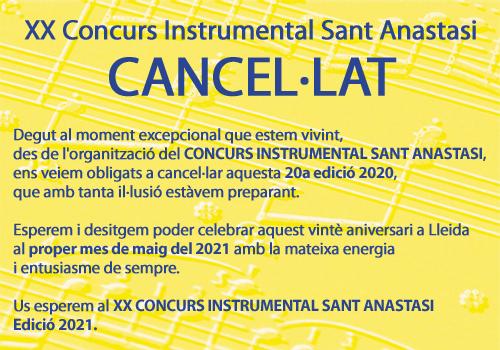 CANCEL·LAT – Concurs Instrumental Sant Anastasi 2020-